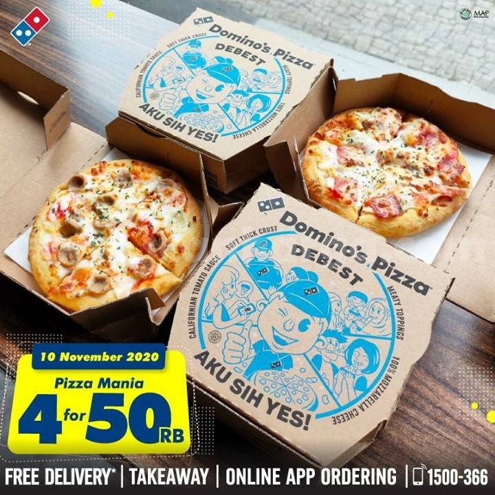Dominos Pizza Promo harga spesial 4 Pizza mania cuma 50rb*