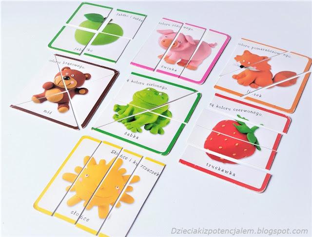 na zdjęciu siedem układanek dla małych dzieci, układanki przedstawiają jabłko, świnkę, lisa, misia, żabę,truskawkę i słońce