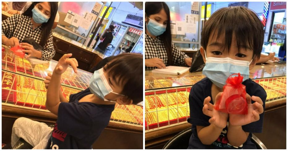Using his birthday money, kid buys gold ring for his mom