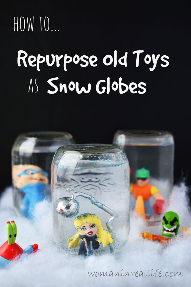 How to Repurpose Old Plastic Toys as Snow Globes - If the kids are having trouble letting go of old toys, let them pick a few plastic figures to use for #diy snow globes. They can help to create their own globes. #toys #kids #organization #fun #family #crafts #craft #idea