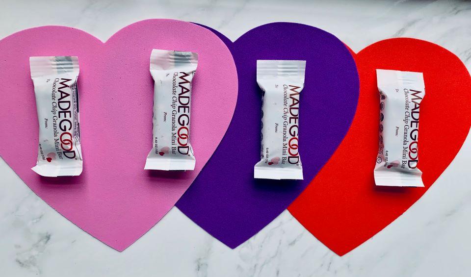 Made Good mini granola bars and hearts #ad