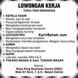 Lowongan Kerja King Business Centre (Admin, Accounting, Sopir, Kasir)