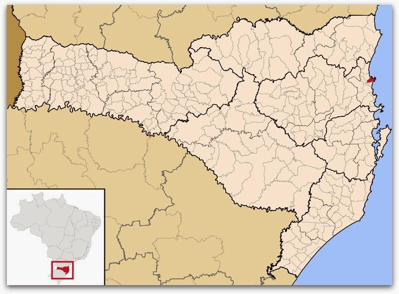 Cidade de Penha, no mapa de Santa Catarina