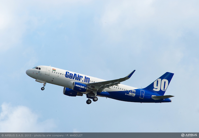 "Airbus A320-200 of GoAir VT-GOL featuring the new ""Sharklets""."