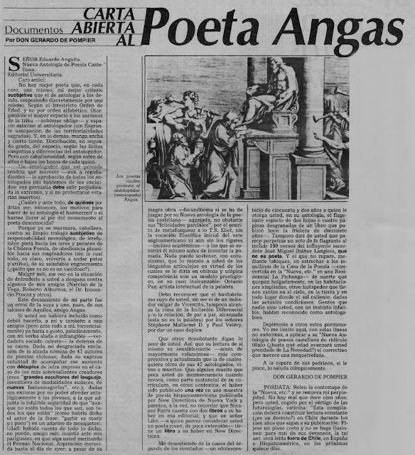 Gerardo de Pompier y Enrique Lihn: Carta abierta a poeta Angas