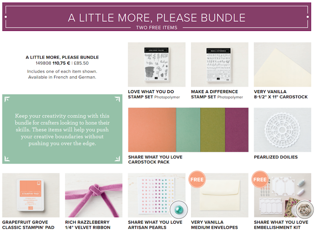 This image shows the products you can get in the Share What You Love 'A Little More Please' Bundle by Stampin' Up!