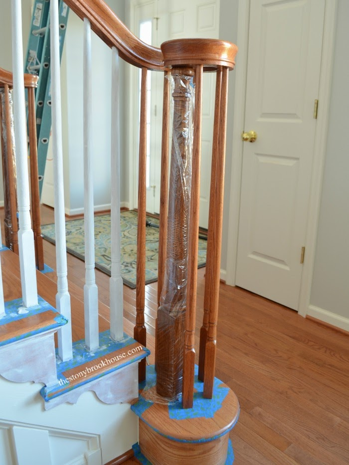 Plastic wrapped post ready for primer