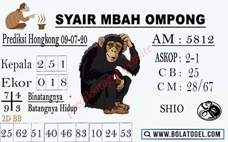 Syair Mbah Ompong HK Kamis 09 Juli 2020