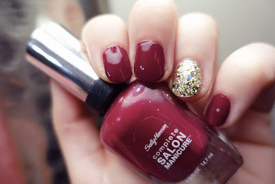 Sally Hansen Complete Salon Manicure in Ruby Do with gold glitter