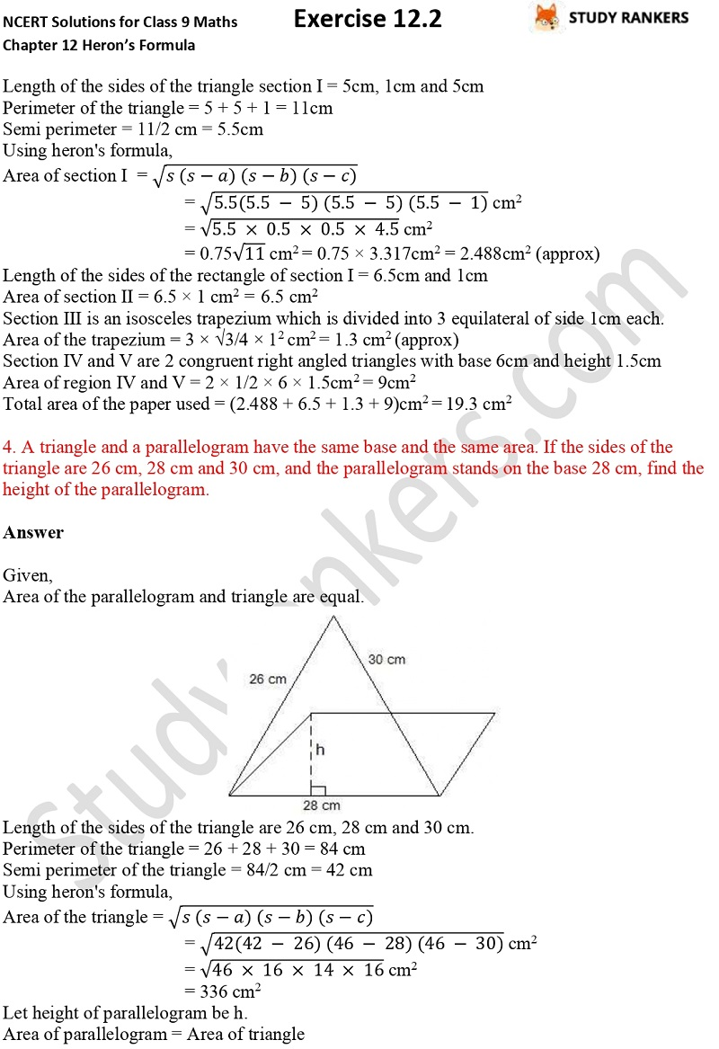 NCERT Solutions for Class 9 Maths Chapter 12 Heron's Formula Exercise 12.2 Part 3