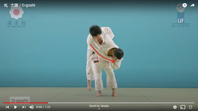 Picture of O-Goshi Judo Throw Showing Tori from the front pulling BUke around with a red line on the arm showing that Ukes arm is being pulled around in front of Tori.