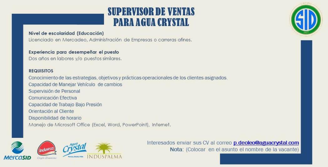 Vacante Para Supervisor De Ventas Agua Crystal Ayuda