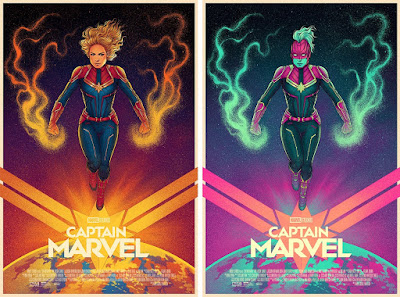 Captain Marvel Movie Poster Screen Print by Jen Bartel x Mondo