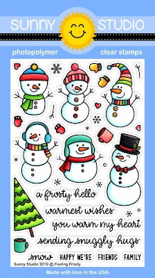 Sunny Studio Stamps: Feeling Frosty Snowman 4x6 Clear Photopolymer Christmas Holiday Stamp Set