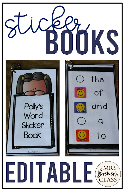 Editable sight word sticker books for ANY words for reading practice, tracking progress and student motivation in Kindergarten and First Grade