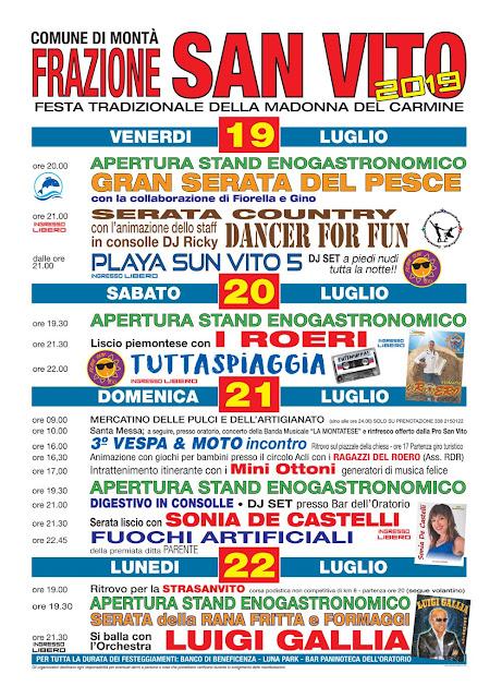 Frazione San Vito festa di Madonna del Carmine a Montà