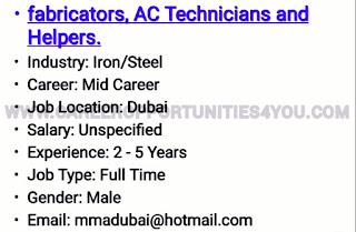 NEW VACANCIES IN DUBAI - APPLY - Career Opportunities4you