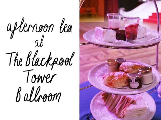 left: black text on white background reading 'afternoon tea at the blackpool tower ballroom', right: afternoon tea on a three tier stand