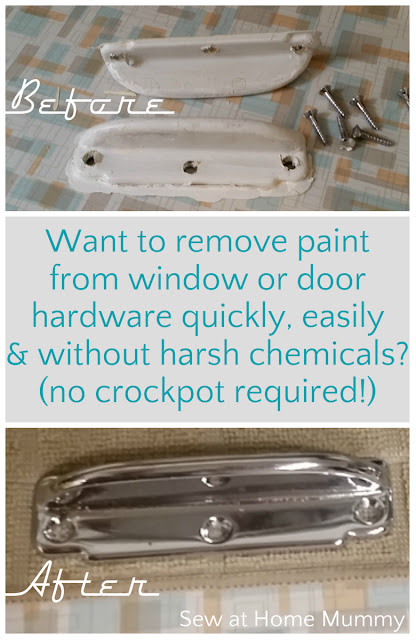 Want to know an easier way to remove paint from door and window hardware (than soaking your hardware for hours in a crockpot?) Great step-by-step - even better before and after pictures! WOW! Her 60 year old hardware looks like NEW!