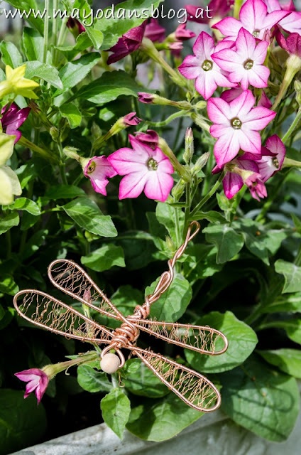 Blumenstecker Libellen aus Messingdraht