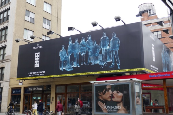 Moncler ice sculpture billboard NYC