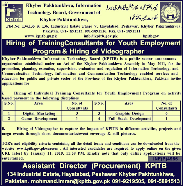 KPK Information Technology Board (KPITB) Latest Jobs 2019