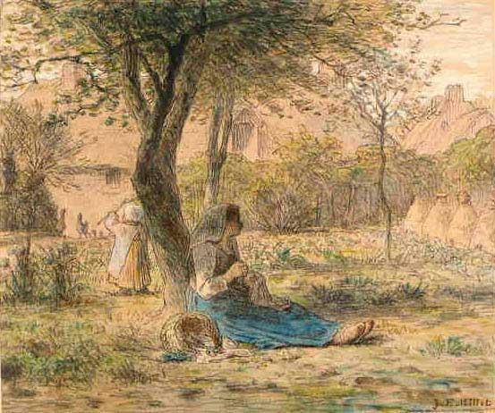Жан Франсуа Милле - В саду. 1862