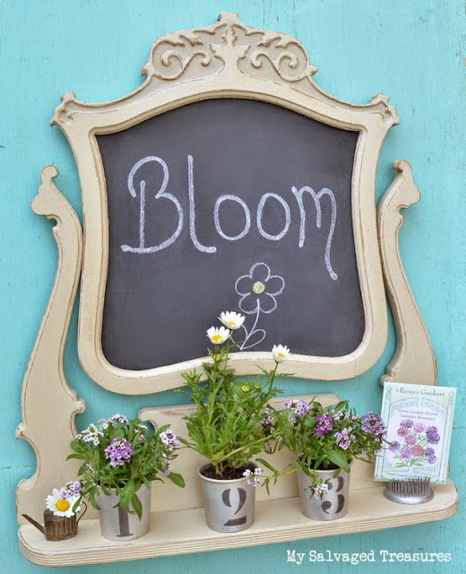 Repurposed vintage mirror frame transformed into a chalkboard