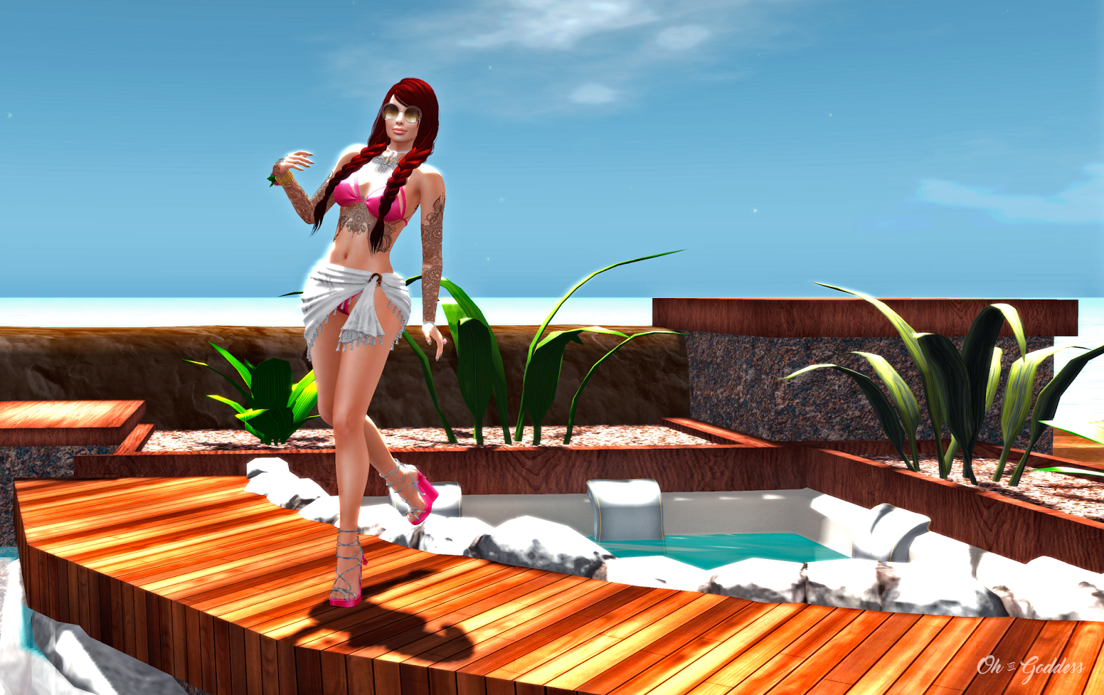 Second Life Fashion Blog: Pool Party Outfit - OhMyGoddess