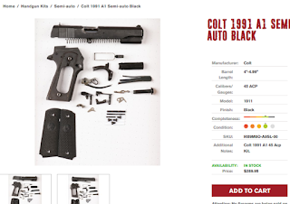 Colt 1911 parts kit with demilled frame