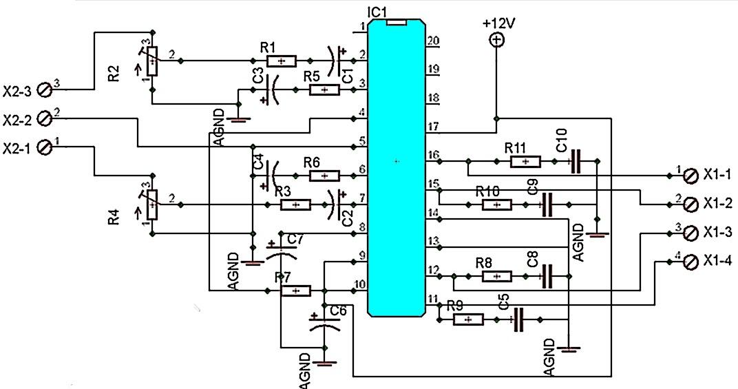 Schematic Diagram: 200 Watt Stereo Car Amplifier