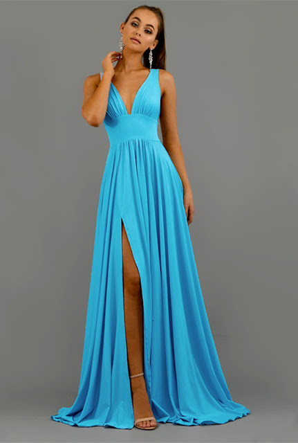 v-neck split long prom dress