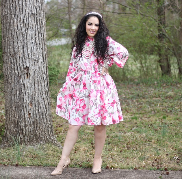 SHEIN Spring Collection: Pink Floral Dress