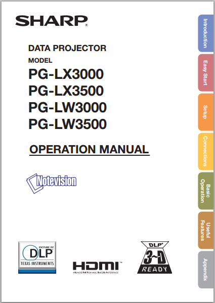 Sharp PG-LW3500 Operation Manual