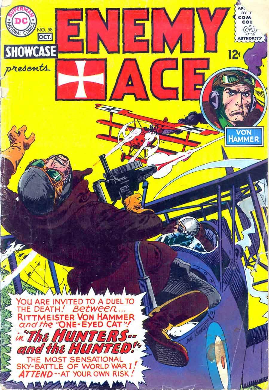 Showcase v1 #58 Enemy Ace dc comic book cover art by Joe Kubert