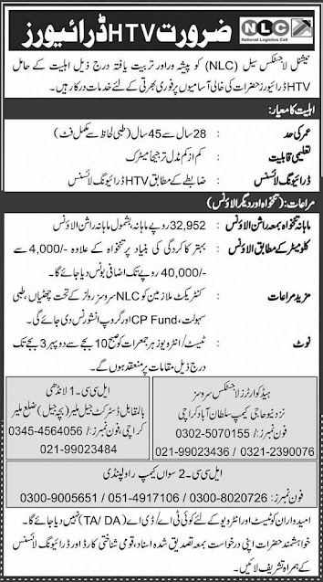 National Logistic Cell NLC Jobs 2020 Rawalpindi Latest Advertisement Apply Online