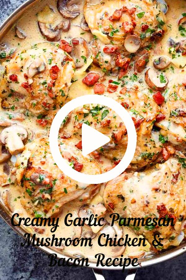 Creamy Garlic Parmesan Mushroom Chicken & Bacon | Easy Dinner Recipe | Easy Chicken Recipe #parmesan #chicken #bacon #mushroom #dinner