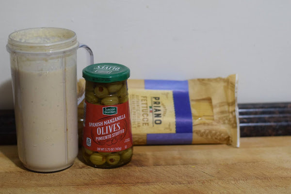 The ingredients needed to make the Easy Instant Pot Vegan Mummy Alfredo Recipe.
