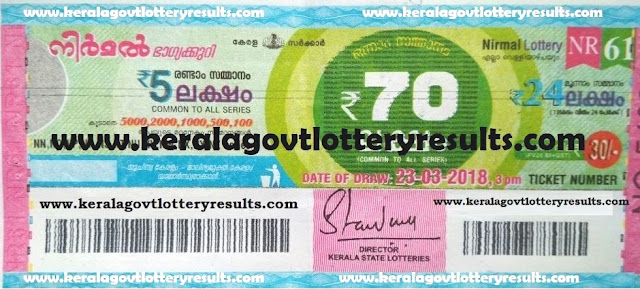 kerala lottery results, nirmal lottery results