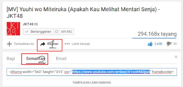 Kode Sematkan pada Youtube