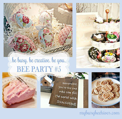 Easter decor, pink pies, peanut butter cookies and wall signs