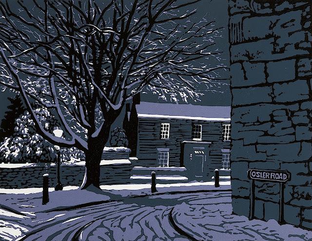 Joseph Winkelman art, a purple night scene in winter