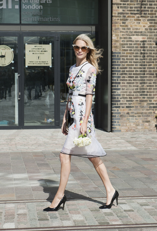 poppy delevingne floral dress erdem fashion show