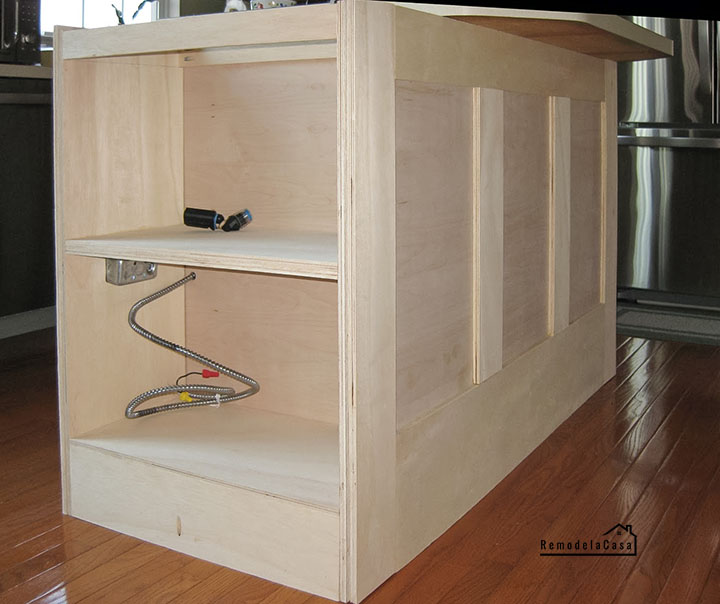 how to add a bookcase to kitchen island
