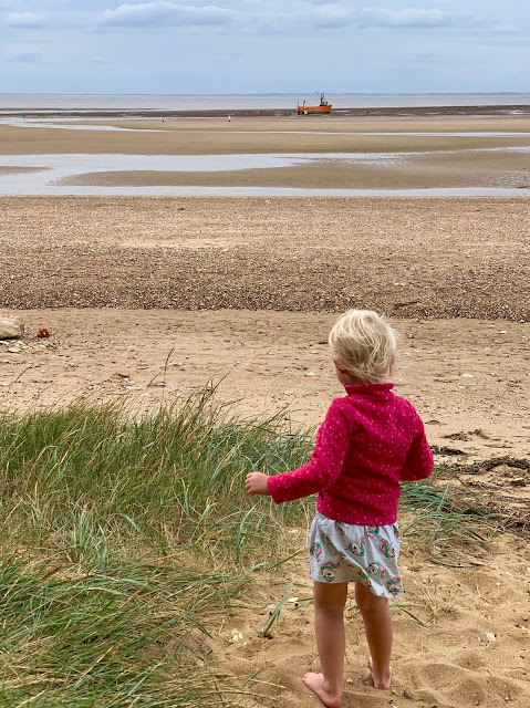 3 year old looking out to see on a sandy beach