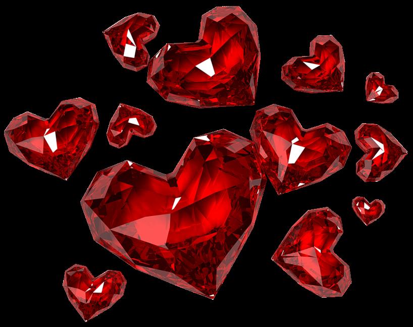 render diamentes en forma de corazon