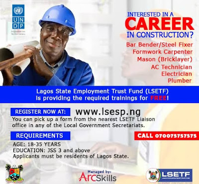 LSETF Career Training in Construction Jobs 2019/2020 for Youths