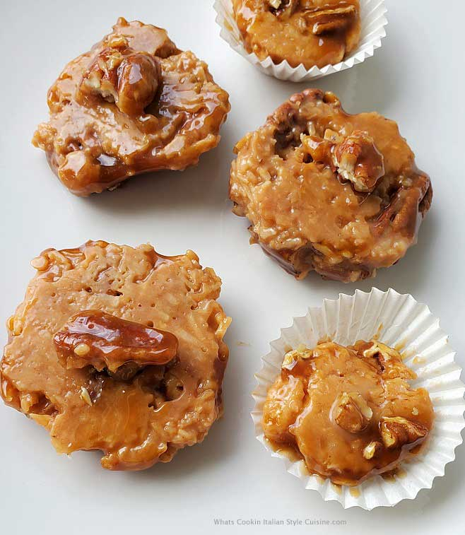 southern style pecan pralines made from scratch on a white plate