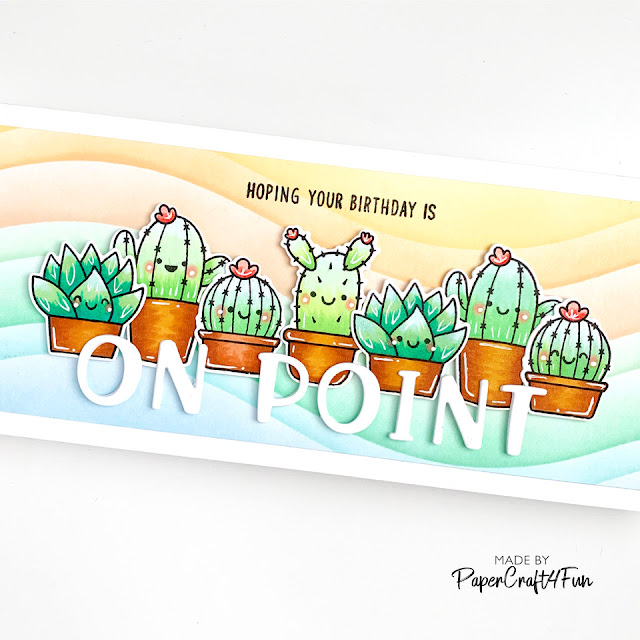 Sunny Studio Stamps: Chloe Alphabet Looking Sharp Birthday Slimline Card by Jane Trivedi