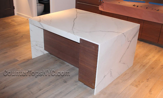 White marble countertops Kitchen Island